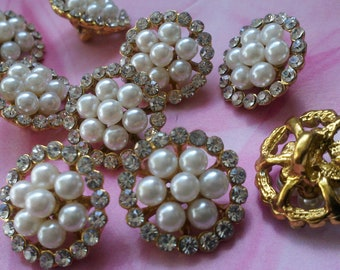 Gold Metal  Buttons with Rhinestone and Ivory Pearls. 10  Pieces  18 mm . Bridal accessory