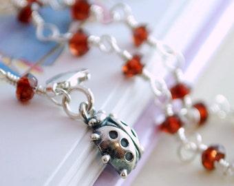 Birthstone Bracelet Child Children Girl Sterling Silver Genuine Red Garnet Gemstone January Birthday Ladybug Charm