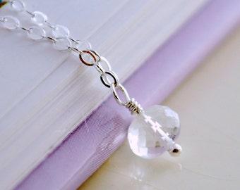 Simple Rock Crystal Quartz Necklace Child Children Girl April Birthstone AAA Semiprecious Genuine Gemstone Sterling Silver Jewelry