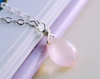 Child's Gemstone Necklace, Rose Quartz, AAA Semiprecious Stone, Sterling Silver Jewelry, Pale Blush Pink