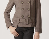 Double breasted coat J047 / wool coat PEACOAT brown coat chocolate coat short jacket winter outerwear belt