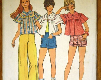Simplicity 5634 Misses Smock Top Pants and Shorts Vintage Sewing Pattern