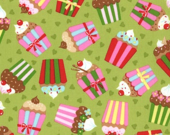 Cherry On Top - Cupcakes in Pistachio by Keiki for Moda Fabrics