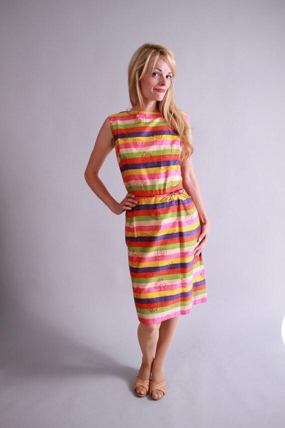 1960s dress / 60s striped silk cocktail dress / summer dress
