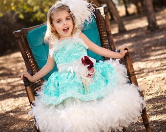 Aqua Mint Rosette Girls Feather Dress