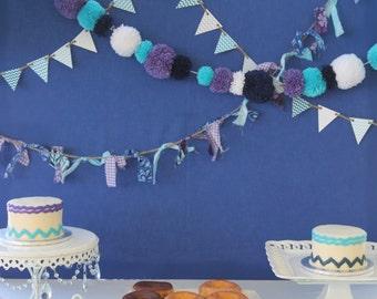 Navy Purple Aqua White Yarn PomPom Garland | PomPom Party Decor | Wedding Bunting | Party Garland | PomPom Photo Props | PomPom Decor