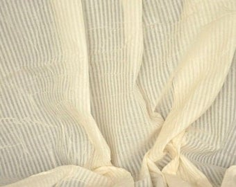 """Organic Cotton Fabric. Handwoven. Natural, fairtrade. 44"""" / 111 cm wide. All Over Stripes."""