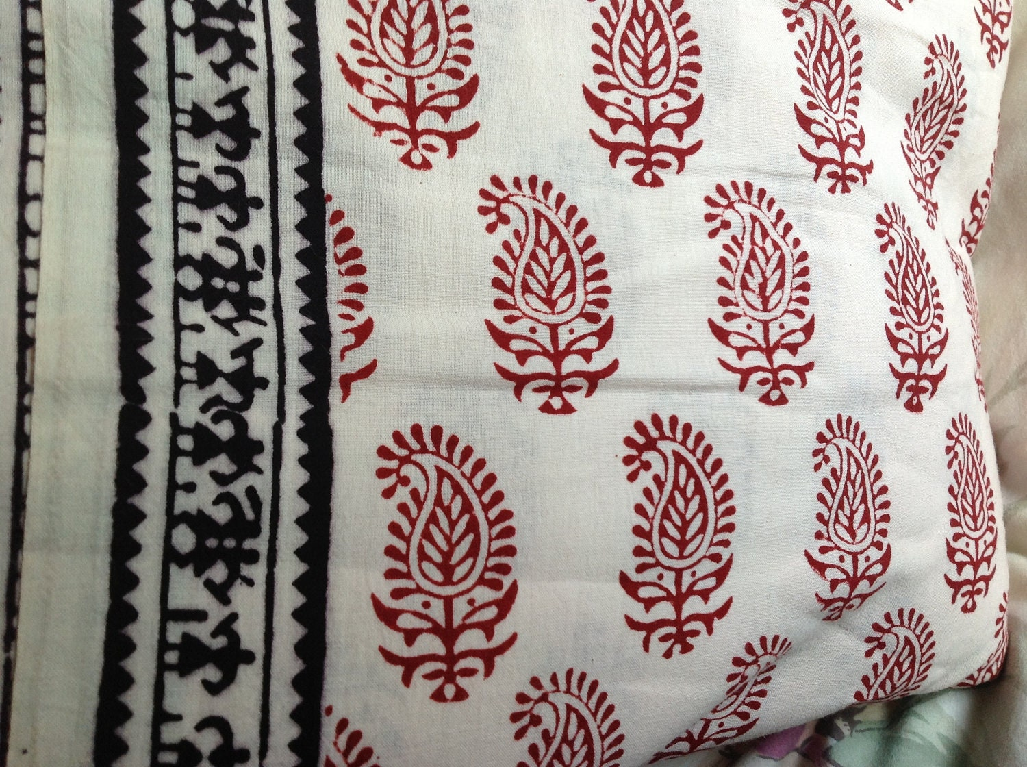 Indian hand block printed fabric 100 cotton paisleys for Printed cotton fabric