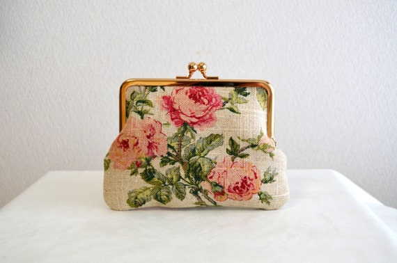 Frame purse - Shabby Chic floral clasp purse bag