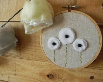 Field of White Poppies  Hoop wall decoration 4 inch hoop size