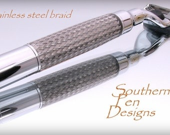 Mach 3 Razor in chrome and hand cast stainless steel braid. Magnum bullet .
