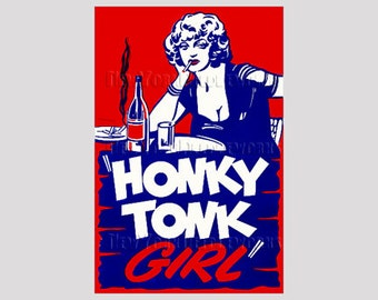 Honky Tonk Girl, Movie Poster Pattern, Poster Cross Stitch Pattern, Cross Stitch, Woman Cross Stitch,  by NewYorkNeedleworks on Etsy