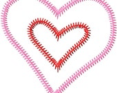 Double Layer Heart 2 ZigZag Applique Machine Embroidery Design 3x3 4x4 5x7 Valentines Day Love INSTANT DOWNLOAD