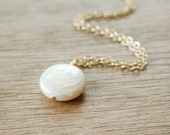 White Coin Pearl Necklace - 14K Gold Filled  Chain - Wedding Delicate dainty everyday wear jewelry