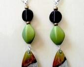 Art deco green black and copper glass teardrop earrings