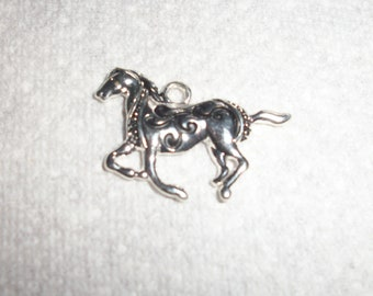 Rhinestone silver and black horse charms