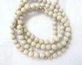 6mm River stone beads , creamy white  round beads,  FULL STRAND