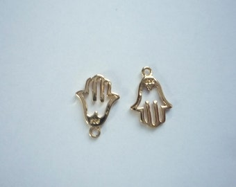 2pcs  Small  Gold Vermeil hamsa hand charms (12x8mm), gold plated sterling silver
