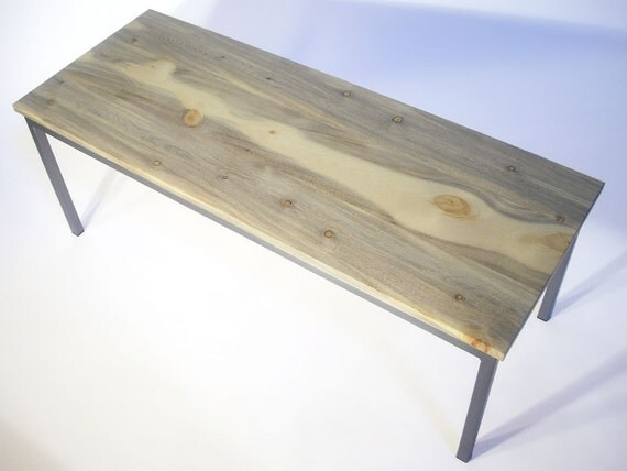 Blue Pine & Sanded Steel Coffee Table