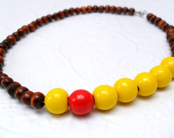 Wooden Beaded Necklace - Colour Block - Yellow dash red - reclaimed beads - earth friendly