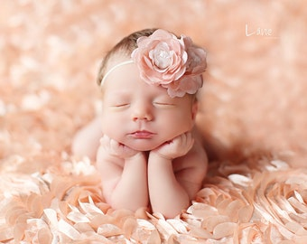 SALE - Leighton Heritage Newborn Posing Photography Prop Perfect Bean Bag Basket Stuffer Rose Fabric Backdrop Fluttery Layering (Soft Peach)