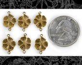 Antique Brass Flower Two Way Connectors, Set of Six   AB-2C35
