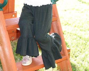 black knit ruffle pants big ruffles sizes 12m - 12 girls