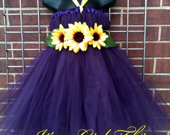 Plum Tutu Dress with Sunflowers - Size 5 -  8 Years