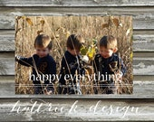 Simple Happy Everything Christmas Photo Card Holiday Photo Card - Printable