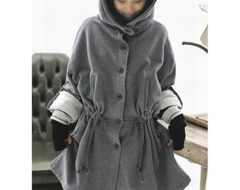 Knitted Cotton  Long Coat / Hoodie/  8 COLORS/ RAMIES