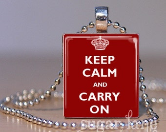 20% Off w/Coupon - Keep Calm and Carry On Necklace - Available in 30 colors - Scrabble Tile Pendant with Chain