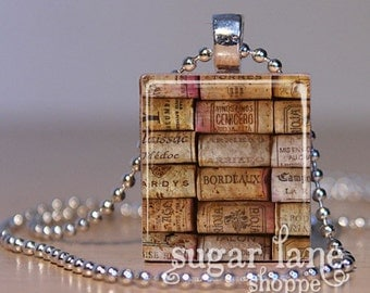 20% Off w/Coupon - Wine Corks Necklace - (WA1 - Gold, Burgandy, Brown) - Scrabble Tile Pendant with Chain