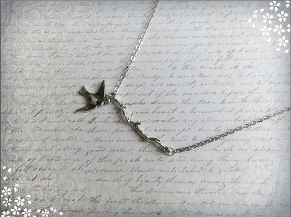 Whimsical and silvery flying sparrow and branch necklace, Fly Away Home