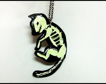Glowing Black Cat Skeleton Necklace