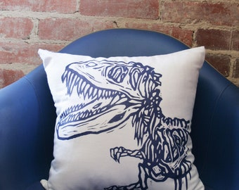 "Ready To Ship Dinosaur Pillow Cover 16x16"" White and Blue"