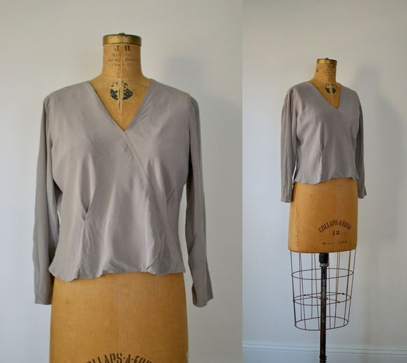 1930s Blouse / 30s Dove Gray Silk Blouse