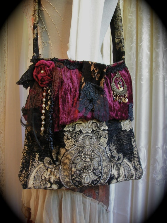 Gypsy Carpet Bag Handmade Thick Upholstery Granny Tapestry Bag