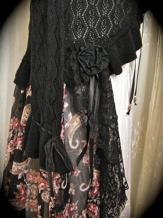 Bohemian Gypsy Sweater Coat, black boho upcycled clothing, altered couture, MEDIUM LARGE