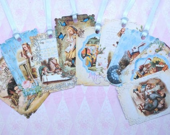 Blue Alice in Wonderland Gift Tags set of 9 No.406