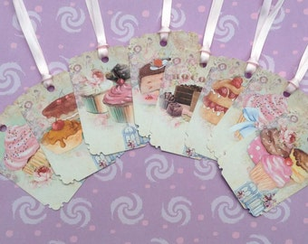 French Cakes & Cup Cakes Gift Tags set of 8 No.436