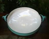Vintage Turquoise Dansk Kobenstyle Enamelware Paella Pan Large Glossy Enamel