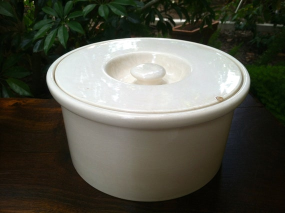 Antique Villeroy & Boch White Crackle Glaze Crock from the 1850s -1930s, Made in Dresden, Germany Pre WWII, Plain White Porcelain Stoneware