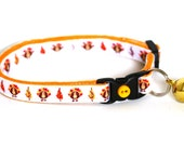 Cat Collar - Thanksgiving Turkeys on White -Small Cat / Kitten or Standard (Large) Cat Collar