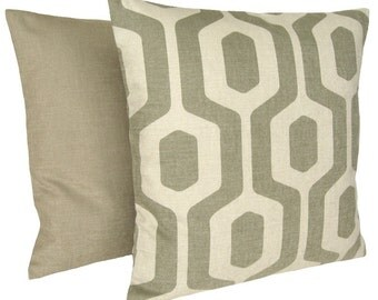 Geometric Pillow Cover 16x16 Cushion Cover - Keyhole Pebble