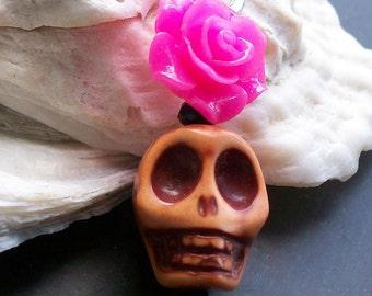 Halloween Sugar skull and Hot Pink Rose Pendant