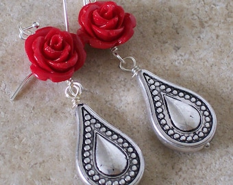 Red Rose Teardrop earrings