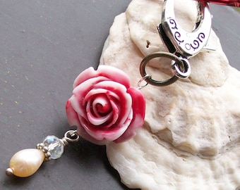 Pearl and Rose Pendant Keychain