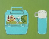 14. LUNCH KIT & THERMOS from 100 tiny brushstrokes (the childhood memory project) - Original Painting