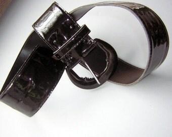 Vintage 80s Wide Black Shiny Pleather Fashion Belt - Large Size 14