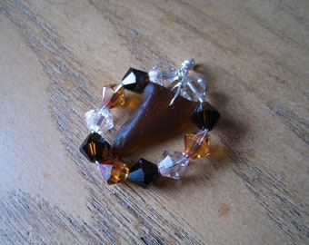 SURF TUMBLED Brown Seaglass Pendant - Accented with Swarovski Crystals
